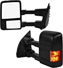 Qiilu 2Pcs Power Heated Towing Mirrors with Powered Adjustment and LED Light Rearview Mirror Fit for 2008-2016 Ford F-250/F-350/F-450/F-550 Super Duty
