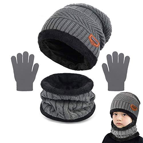 Yutdeng Kinder Wintermütze Strickmütze Warme Beanie Mütze Winterschal Kreis Schal Set und Warm Strick Handschuhe mit Fleecefutter 3-in-1 Mütze Winter-Set