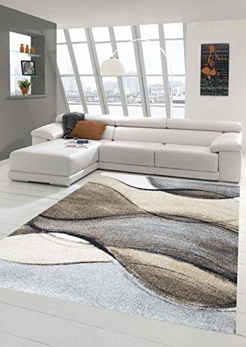 Salon Designer Tapis Contemporain Tapis Moquette Conception Baroque Heather Brown Gris Taupe (80 x 150 cm)