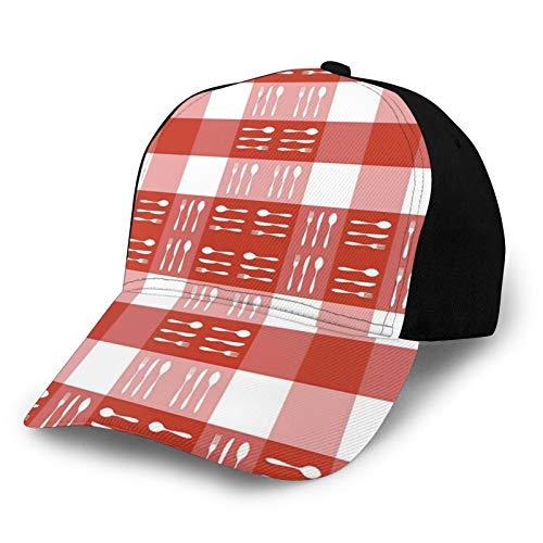 FULIYA Gorra de béisbol para papá de tamaño ajustable para correr entrenamientos y actividades al aire libre, cubiertos, siluetas en cuadrados, comedor, picnic, azulejos, cucharas tenedores, cuchillos