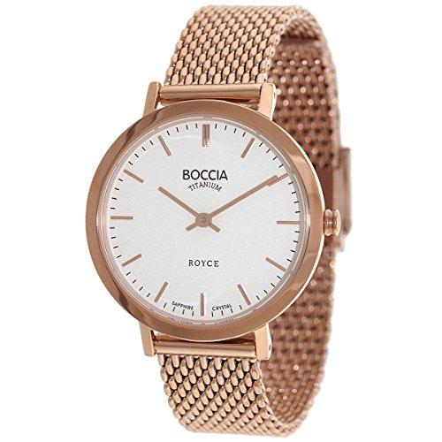 Boccia Damen Analog Quarz Uhr mit Edelstahl beschichtet Armband 3246-07