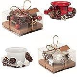 Juego de 4 velas navideñas con 2 velas rojas con decoración y 2 velas blancas en tarro de cristal en caja de regalo.
