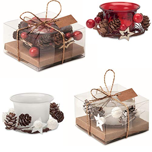 Set di 4 candele natalizie con 2 candele rosse con decorazioni e 2 candele bianche in vetro, in confezione regalo