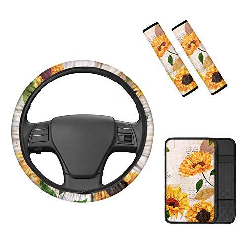 Belidome Funda para cinturón de seguridad con diseño de letra de girasol de 15 pulgadas, para el volante y el hombro, protege el interior del automóvil de arañazos sucios, ajuste universal