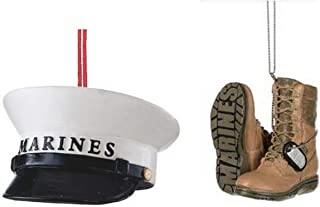 Mid West US Military Marines Hat and Boots Christmas Ornament
