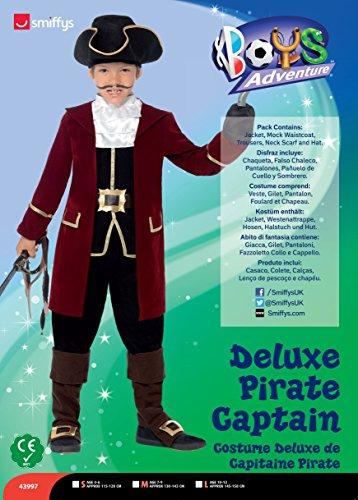 Smiffys Kinder Jungen Piraten Kapitän Deluxe Kostüm, Jacke, Westenattrappe, Hose, Halstuch und Hut, Größe: M, 43997