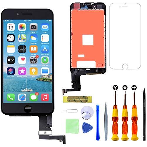 GULEEK Display per iPhone 7 Schermo 4,7 Pollici LCD Touch Screen Frame Vetro Schermo Kit Smontaggio Trasformazione Completo di Ricambio Utensili Inclusi (Nero)