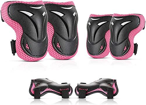 JIM'S STORE 6er Schoner Fahrrad Inliner Knieschoner Kinder Schützer Skateboard Protektoren Set Handgelenkschoner Armschoner für 5-16 Jahre (Rosa, M)