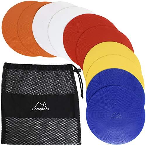 CampTeck U6934 - Runde PVC Flache Markierungshütchen biegsam Sport Markierungsteller - (10er Pack) mit schwarzer Netztasche - Hütchenfarben: Orange, Blau, Rot, Weiß, Gelb