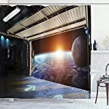 Ambesonne Outer Space Shower Curtain, Earth Scene from a Space Plane Runway Gate Globe Galaxy up to Stars Picture, Cloth Fabric Bathroom Decor Set with Hooks, 75' Long, Black Orange