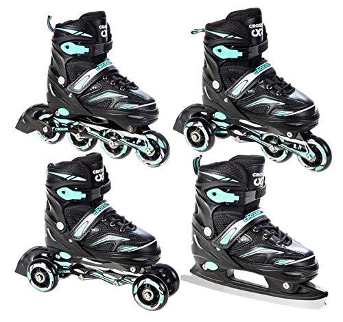 Croxer Rolki - Patines en línea, tri-skate/patines de ruedas Optima negro/menta, ajustables (35-38 (22-24 cm)