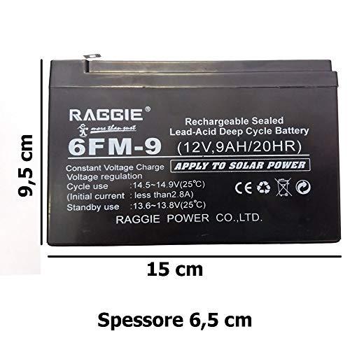 PRICEKILLER® - Batteria Piombo Ricaricabile ermetica 12v 9AH Gruppi continuità Ricambio accumulatori ups Colore Nero attacchi faston