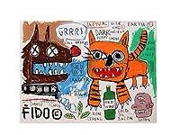 ジャン・ミシェル・バスキアアートポスター 絵画 インテリア おしゃれ 壁飾り キャンバスウォールアート キャンバスプリントの寝室の壁の装飾(50x65cm20x26inch、フレームなし)による動物の鳥