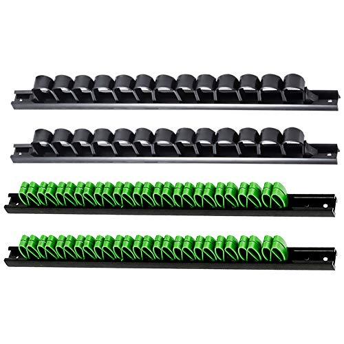 3-H 4 Stück Schraubendreher-Organizer und Schraubenschlüssel, Organizer, Handwerkzeug-Halter, Werkzeughalter/Klammer-Leisten-Set - Inkl. Schrauben und Dübel (2 schwarz 2 Grün)
