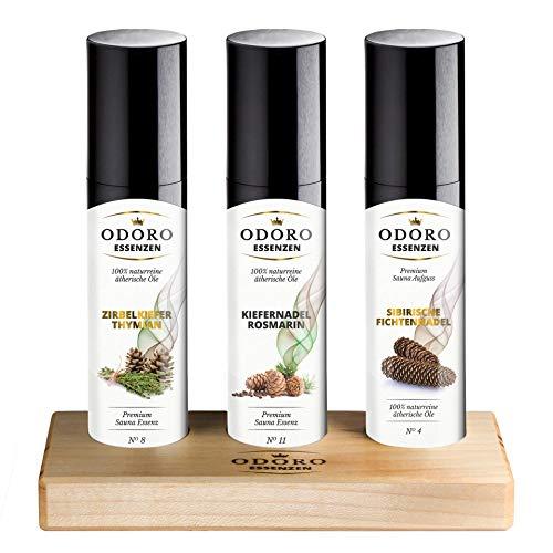 Saunaaufguss Duft Set inkl. Holzständer - 100{d4cb10e50f0fd24cc496e24ceac4e92ffec8d31931b9a2cca5a17cff36fd223b} ätherische Öle – Fichtennadel, Kiefernadel, Zirbelkiefer – Premium Aufguss Konzentrat Geschenkset – Natürliches Aufgussmittel, naturrein, hohe Qualität