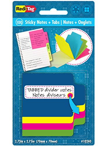 Redi-Tag Mini Neon Divider Notepad, 100 Tabbed Sticky Notes, 4 Neon Colors, 2.75 Inch Square, 1 Pack (10240)