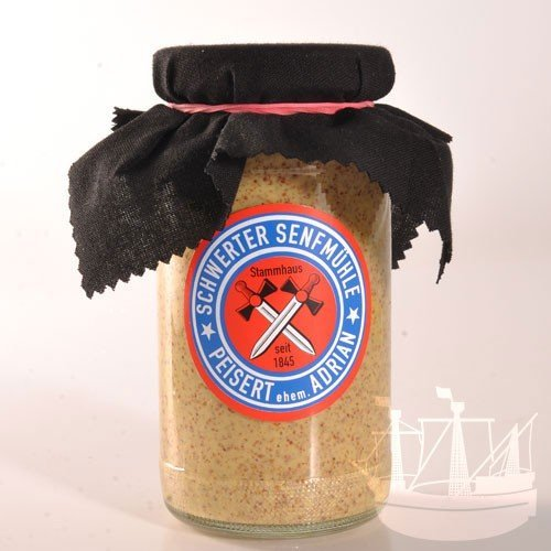 Scharfer Senf Senf, im Glas, kräftiger Senf zu Rouladen, Würstchen, Soßen, Schwerter Senfmühle, 185ml - Bremer Gewürzhandel