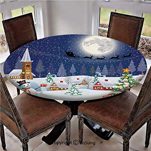 """Elastic Edged Polyester Fitted Table Cover,Winter Season Snowman Xmas Tree Santa Sleigh Moon Present Boxes Snow and Stars,Fits up 45""""-56"""" Diameter Tables,The Ultimate Protection for Your Table,Blue Wh"""