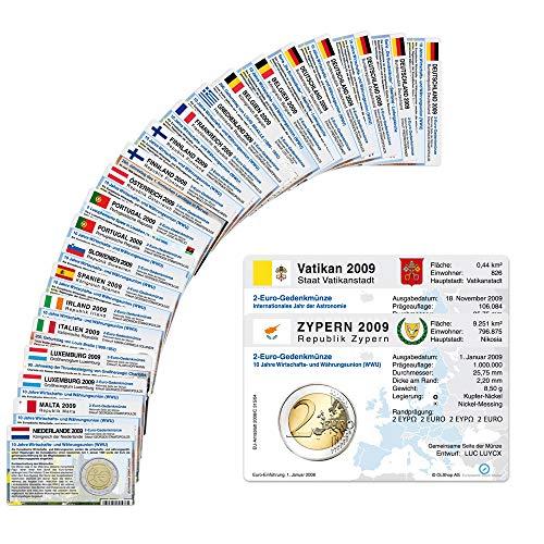 33 Münzkarten ohne Münze (18 Länder) von 2009 für 2-Euro Gedenkmünzen Größe: ca. 86 x 54 mm Material: Karton ca. 350g/m²