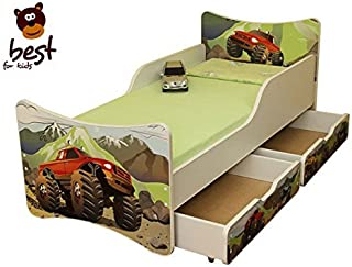 BEST FOR KIDS- Children Toddler bed- wooden low sleeper with Guardrails Drawers 80x180 AUTOMOBILE