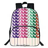 Oobon Kids Toddler School Waterproof 3D Cartoon Backpack, Vivid Wheat Field Pattern Botanical Branches Nature Agriculture Kids Leaves Image, Fits 14 Inch Laptop