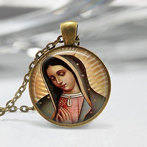 Colgante con forma de corazón sagrado de la Virgen María de Guadalupe