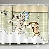 KJGTR DuschvorhangCartoon Waterproof Shower Curtains Rick and Morty Naked Shower Curtain Bathroom Waterproof Polyester 3D Curtains for Bathroom