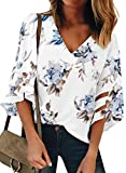 BLENCOT Women's Casual V Neck Floral Sheer Panel 3/4 Bell Sleeve Chiffon Blouse Loose Shirts Tops White S