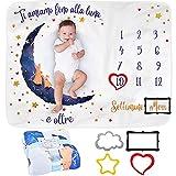 coperta mesi neonato in italiano | coperta foto neonato o neonata, unisex | regalo personalizzato festa nascituro | tema luna | morbida e spessa | coperta per foto mesi | cornici incluse
