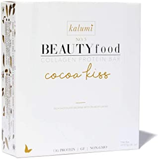 Kalumi BEAUTYfood Marine Collagen Protein Bar (Cocoa Kiss) for Skin Hair Nails, Certified Gluten Free, Dairy Free
