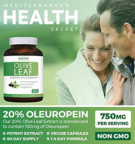 Olive Leaf Extract (Non-GMO) Super Strength: 20% Oleuropein - 750mg - Vegetarian - Immune Support, Cardiovascular Health & Antioxidant Supplement - No Oil - 60 Capsules