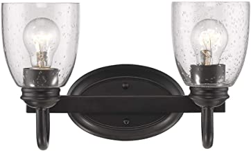 Golden Lighting 8001-BA2 BLK-SD Two Light Bath Vanity, Black