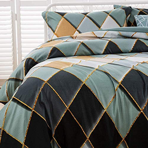 Bettwäsche-Set mit Bettdecke Cover Kissenbezug Geometrie Gedruckt Bettdecke Set Quilt Case Schlafzimmer Mikrofaser Duvet Cover Set-200x200 cm._Grün