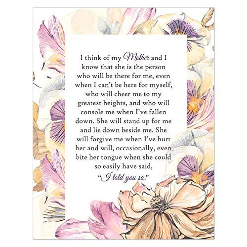 Gift for Mom from Daughter - Present for Mother from Son or Daughter - Mom Birthday - Mother's Day - Inspirational Quote Wall Decor - Gift Under 10-8x10 Print UNFRAMED (Purple, Garden)