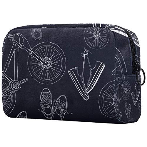 Estuche Multifuncional con Cremallera Durable Bolsa de Cosméticos Bolsa de Papelería Bolsa de Viaje Zapatos de Lona para Bicicletas 18.5x7.5x13cm