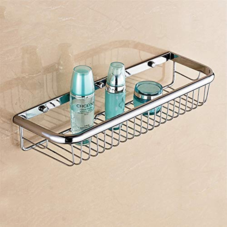 BAIF TowelRackQX Bathroom Shelf,Fine Copper Bathroom Shelf Bathroom Storage Double Angle Frame Bathroom Three-Tier Rack Silver Single Layer 45cm