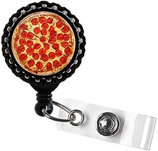 Pepperoni Pizza Black Retractable Badge Reel ID Tag Holder by Geek Badges