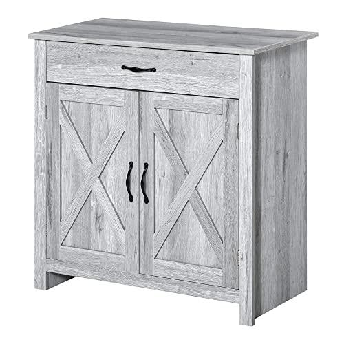 HOMCOM Aparador de Cocina con 1 Cajón 2 Puertas y Estante Interior Ajustable Mueble Auxiliar Decorativo para Comedor Salón 80x39,7x80 cm Gris