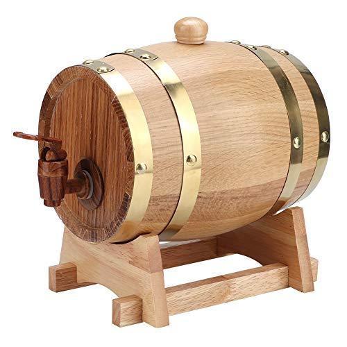 Barril de Vino, 1.5L Vintage Natural Oak Madera Barril de envejecimiento de Vino Barril de Vino Cubo Equipo de elaboración de Cerveza casera Accesorios para Vino/Brandy/Whisky /