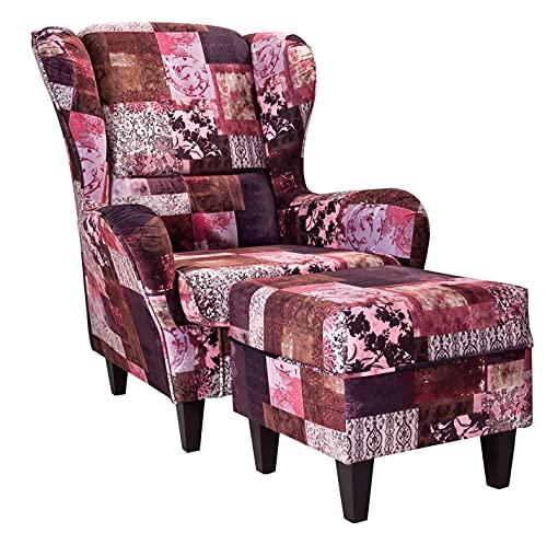 Supellex Ohrensessel »Sofia«, Design Patchwork, floral, rot (Design-Nr.: 5031), wahlweise mit Hocker