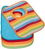 Bieco Baby Schlupf Lätzchen, 6er Pack mit Klettverschluss in tollen Farben für Junge und Mädchen, Klettverschluss und doppelseitig mit außen Baumwolle, abwaschbar und wasserdicht Kinderlätzchen