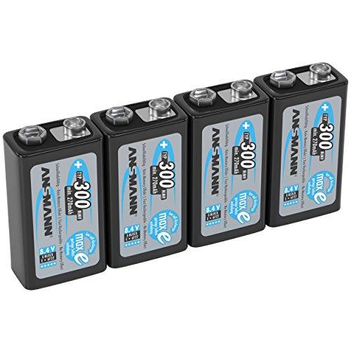 ANSMANN Akku 9V Block Typ 300mAh NiMH 4 Stück mit geringer Selbstentladung - Wiederaufladbare Batterien maxE mit hoher Kapazität - 9 Volt Batterie für Messgerät Multimeter Spielzeug Fernbedienung