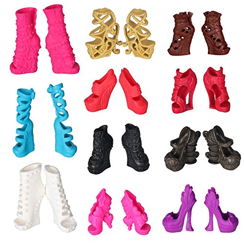 Tanosy 10 Pairs Shoes for Monster High Doll Accessories Fashion High Heels Sandals Boots Variety Colors Gift
