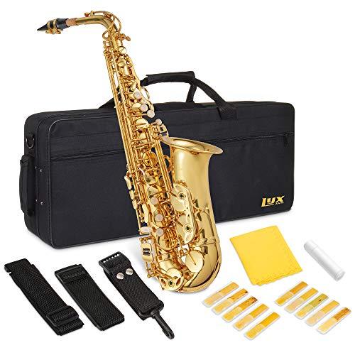 LyxJam Alto Saxophone E Flat Brass Sax Beginners Kit, Mouthpiece, Neck Strap,...
