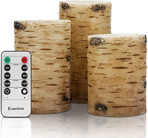 Birch Flameless Candles ,Real Wax Battery Led Candles (D 3' x H 4'5'6') with Timer and 10-Key Remote,Set of 3