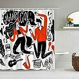 Lieteuy Cortina de baño Repelente al Agua,Pareja Bailando Música Festival Rock y Rock Guitarra Sonido Batería Nota,Cortinas de baño de poliéster de diseño 3D con 12 Ganchos,tamaño 180 x 180cm