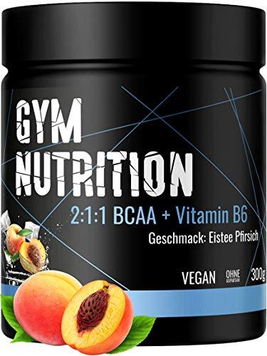 BCAA + Vitamin B6 hochdosiertes Pulver - Leucin, Isoleucin, Valin 2:1:1 - in deutscher premium Qualität - Vegan (Ice Tea Peach)