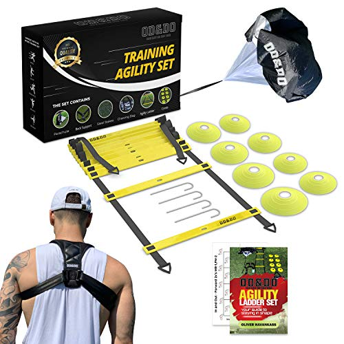 ODDO Agility Ladder Set - Workout Exercise Equipment with Back Support, Cones, Stakes, Carry Bag - Football, Soccer, Basketball, Baseball, Volleyball Training Gear - Boost Speed, Power, Balance