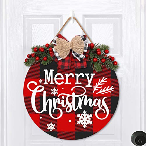 Zingoetrie Merry Christmas Buffalo Plaid Wooden Door Wreath Hanger Round Front Wall Sign Traditional Holiday Home Festive Ideas Decorating Supplies …