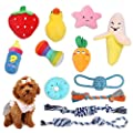 Feeko Squeaky Plush Dog Rope Toy 12 Pack for Puppy, Bulk with Squeakers for Small Dogs, Cute Puppy Chew Toys for Puppy Teething Soft Stuffed Toys, Durable, Safe, Non-Toxic and Interactive Pet Toys